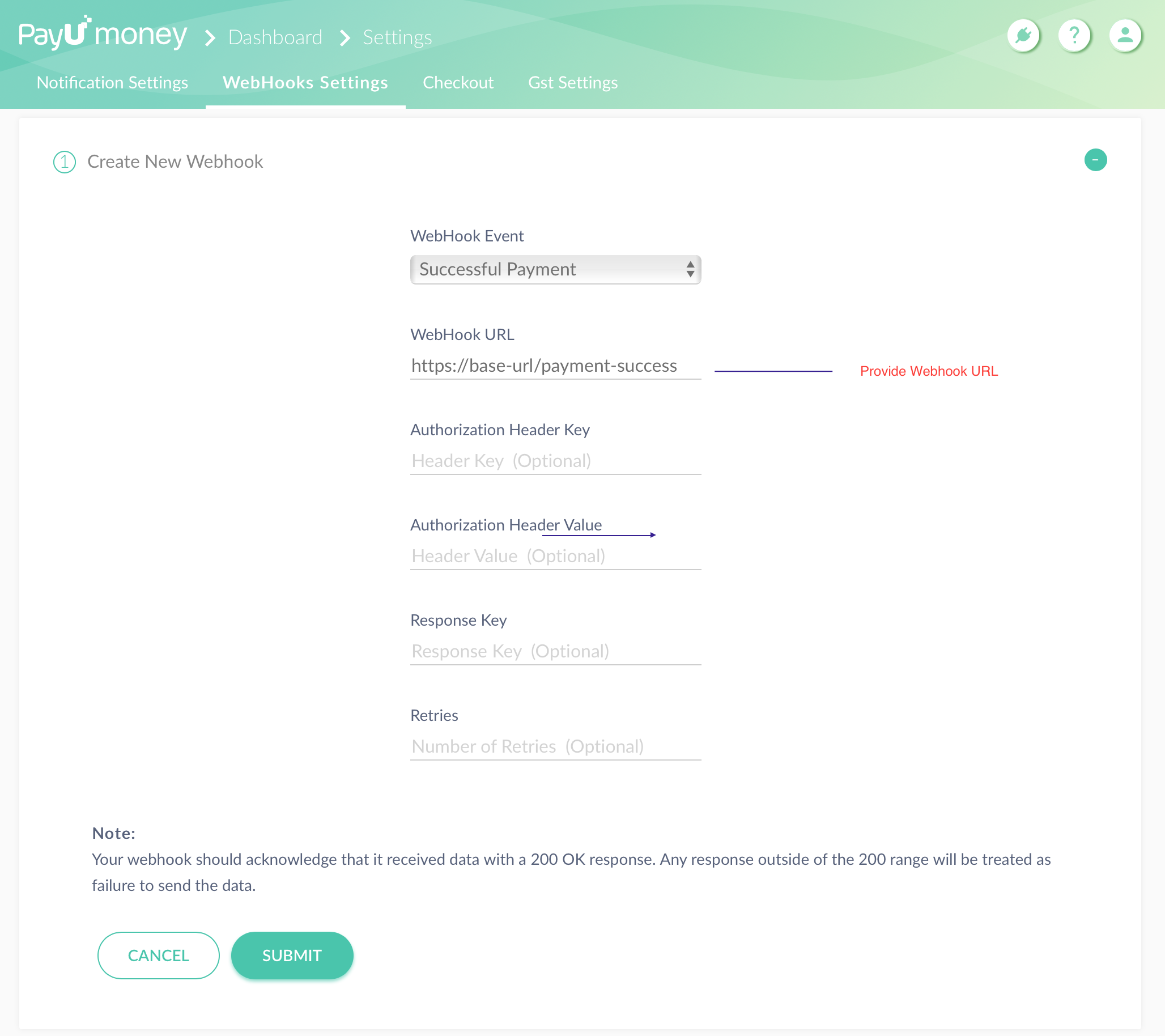 payumoney webhook setting