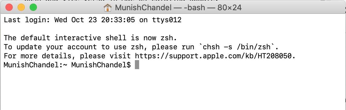 zsh default shell